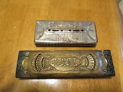 Two Antique M. Hohner Harmonicas ,trumpet Call N Echo