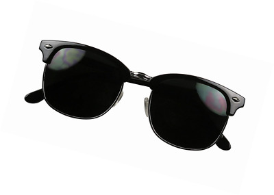 7bd3ffe80b ShadyVEU - Exclusive Super Dark Retro 80 s Semi Horned Rim Clubmaster  Sunglasses