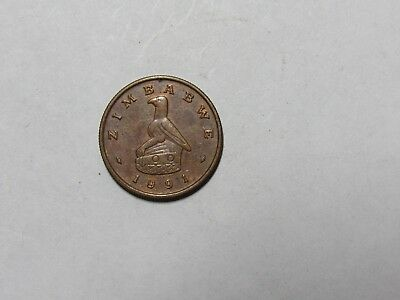 Old Zimbabwe Coin - 1991 1 Cent - Circulated, spots, rim dings