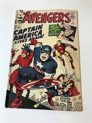 Marvel 1963 Avengers #4 First Silver Age Captain America