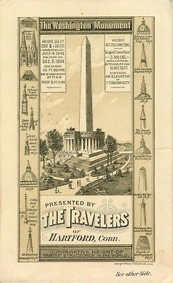 Victorian Tradecard, Washington Monument, Travelers Insurance, Hartford CT 1885