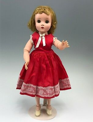 "All Original Vintage Madame Alexander Elise 15"" Doll in Red Dress"