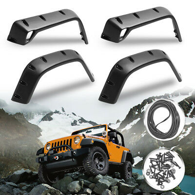 6PCS For Wrangler Jeep 97-06 TJ 6'' Pocket Rivet Style Wheel Fender Flares Black