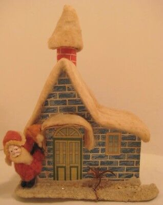 Old Cotton Santa on House w/ Snow Christmas Candy Container Building for Putz