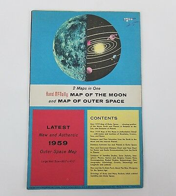 1959 Latest Map Of Moon & Outer Space Rand McNally 26.5 x 41.5  wall map