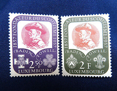 2 Luxembourg 1957 Postage Stamps ~ Scouting Baden-Powell ~ Mint Never Hinged