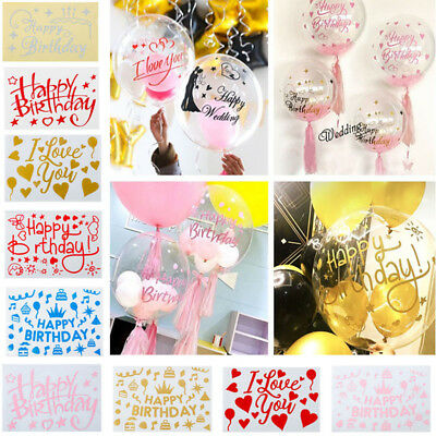 Happy Birthday Peel off Stickers Balloons Shimmer Stickers Wedding Party Decor
