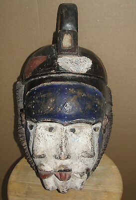 Very Old African Art Punu Mask Nigeria Igbo Ibo Eyes Glasses Heads Congo Bakongo