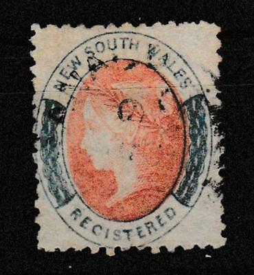 NSW 1863  (6d) rose-red and blue registration stamp perforated fine used