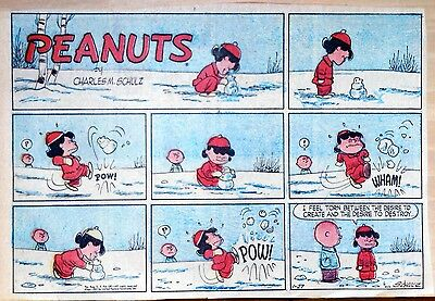 Peanuts by Charles Schulz - large half-page color Sunday comic - Jan. 27, 1957