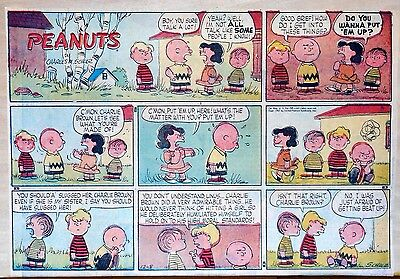 Peanuts by Charles Schulz - large half-page color Sunday comic December 8, 1957