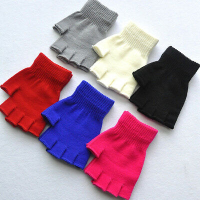 Solid Color Kids Winter Soft Plush Half Finger Fingerless Warm Gloves