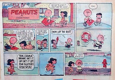 Peanuts by Charles Schulz - large half-page color Sunday comic - April 27, 1958