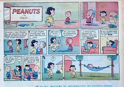 Peanuts by Charles Schulz - large half-page color Sunday comic - Dec. 6, 1959