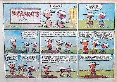 Peanuts by Charles Schulz - large half-page color Sunday comic - July 7, 1963