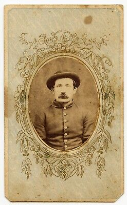 CDV of a Yankee Civil War Soldier with a derby style hat