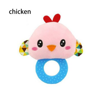 Baby Rattles Hand Bell Toddler Infant Rings Interactive Cute Animal Plush Toy C2