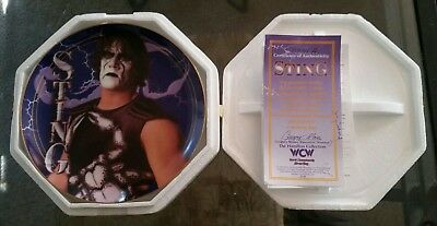 """Hamilton Gifts """"wcw Sting Collector's Plate"""" New Coa #0841A"""