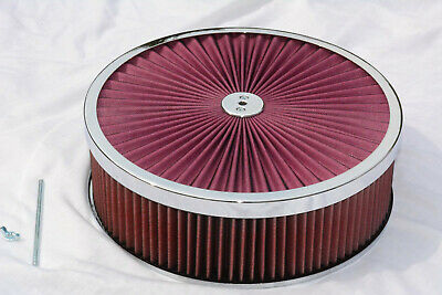 14 x 5 Round Chrome RED Washable Air Cleaner Flow Thru Filter Top Recessed Base