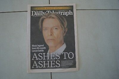 David Bowie Daily Telegraph Rare Australian Newspaper January 2016!