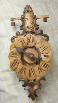 Clock, Wooden Gears, Weight Driven, verge escapement,  Black Forest,