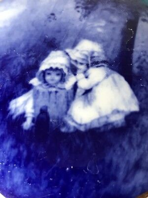 Vintage Blue And White Trinket Box Children In Woods Beautiful Image Lord Nelson