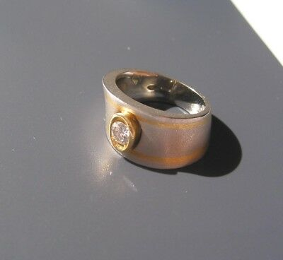 Ring In 950 Platin 14 Gr Mit Brillant Solitär 0,25 Ct Platinring Brillantring