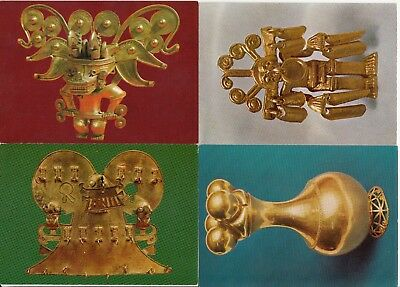 Lot 4 OLD POST CARD cartes postales COLOMBIE COLOMBIA BOGOTA museo del oro