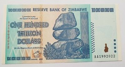 Uncirculated AA Series Zimbabwe 100 Trillion Dollar Banknote