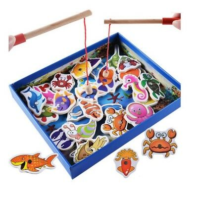 Toddler Baby Toy 32pcs Set Magnetic Fishing Wooden Toy Game Play Rods Board Gift