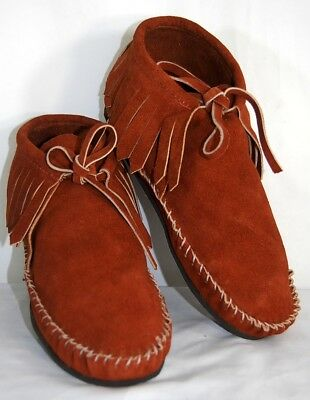 Brown Suede Soft Moccasin men low boot fringe Western Indian Pawnee Style lace