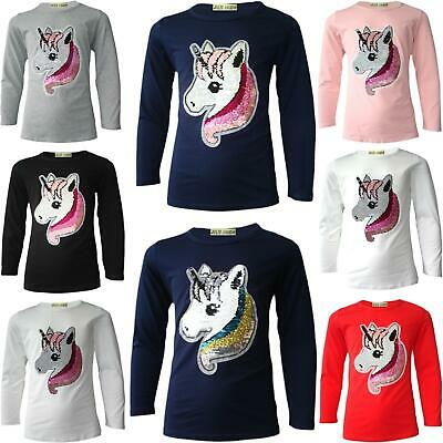 7f094f1085ff8 Girls Emoji Emoticons Unicorn Face Tee Tops Brush Changing Sequin New Age 3- 14