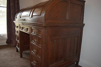 Antique Oak Gentlemans Cylinder Roll Top Desk  Leather Inlay
