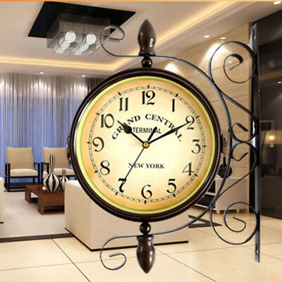 Vintage Antique Double Sided Wall Mount Station Clock Garden Hallway Home Decor