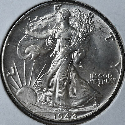 1942 50C Walking Liberty Half Dollar Philadelphia Choice Brilliant Uncirculated