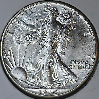 1942 50C Walking Liberty Half Dollar Silver Gem Brilliant Uncirculated BU Unc C