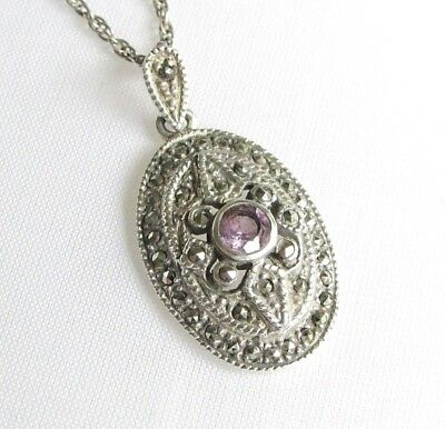 Art Deco style solid silver marcasite & amethyst gemstone pendant necklace