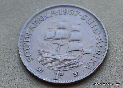 1937 South Africa Penny Ship Circulated Good Grade As Imaged  #cd89