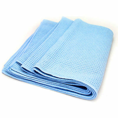 """Large Blue 25""""x36"""" Waffle Weave Thirsty Microfiber Deluxe Drying Towel Auto Home"""