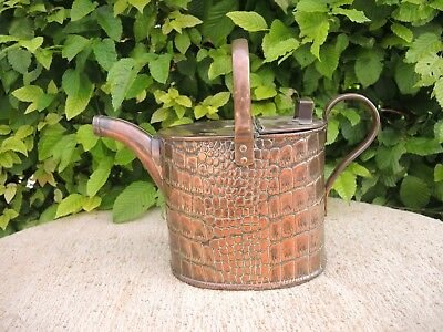 Antique Joseph Sankey Copper Watering Can  1901  Crocodile Skin Design (810)