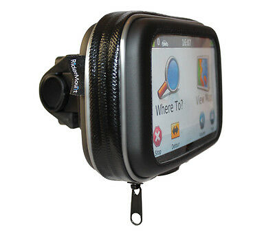 "5"" RiderMount WATERPROOF GPS SATNAV CASE BAG MOTORCYCLE MOTORBIKE MOUNT 5 inch"