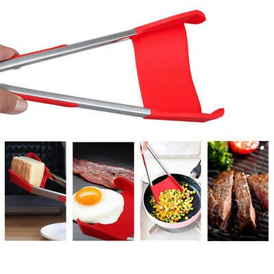 Spatula and Tongs Clever 2 in 1 Kitchen Non-Stick Tongs Hot Cooking Silicone S/L