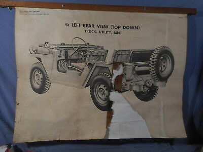 "RARE 1960 M151 Graphic Training Aid 33""x42"" MUTT Military Utility Tactical Truck"