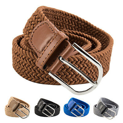 Unisex Braided Leather Covered Buckle Woven Elastic Stretch Belt 41mm/1.6'' Wide