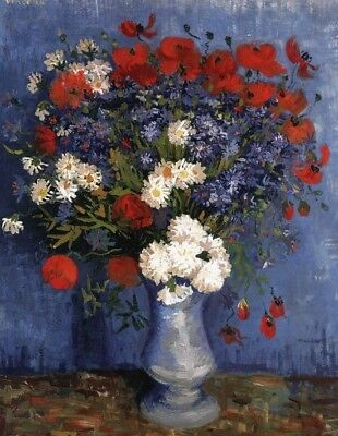 Vase of Flowers Vincent van Gogh Canvas Art Print from Painting Small Decor 8x10