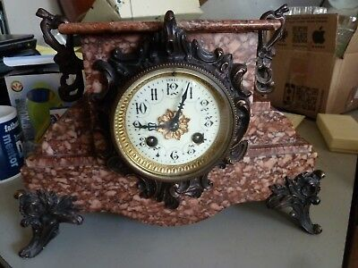 Antique French RA  Bronze Marble  Mantle  Clock mid 19c Before 1860