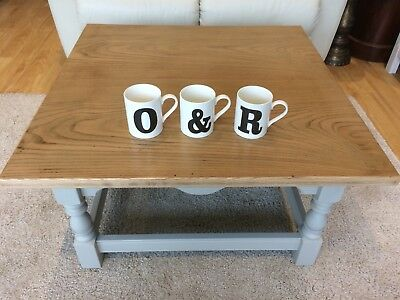 Vintage Large Square Oak Coffee Table Fusion Mineral Paint Grey Shabby Chic