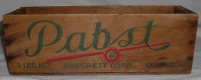 "Antique *Pabst Wood Wooden Cheese 5 Lb Sz CRATE BOX 12"" x 4"" x 3 3/4"" *Chicago"