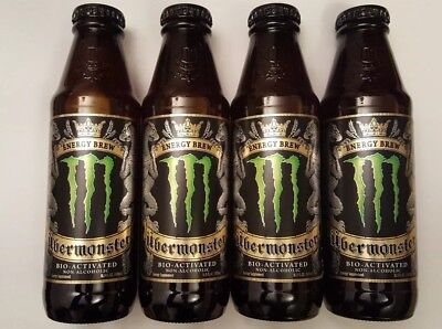 4 UBERMONSTER UBER Brew Monster Energy Drink GLASS Discontinued Limited Edition