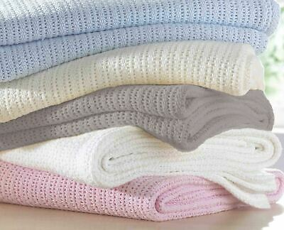 100% Cotton Cellular Soft Baby Blanket for Cot Pram Moses Basket 2 Sizes